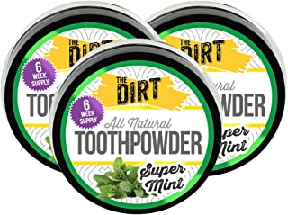 The Dirt All Natural Tooth Powder - Gluten & Fluoride Free Organic Teeth Whitening Powder with Essential Oils | No Added S...
