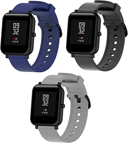 Sounce 3 Pack 20mm Watch Strap Bands Compatible for Amazfit Bip Amazfit GTS Galaxy Watch Active 2 Gear S2 Classic Samsung Gear Trendy Watch Straps Pack of 3