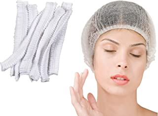 H TENGHODA 100 Pieces Disposable Non-Woven with Elastic Stretch Band Disposable Hair Caps for Home Work Hospital Salon Spa...