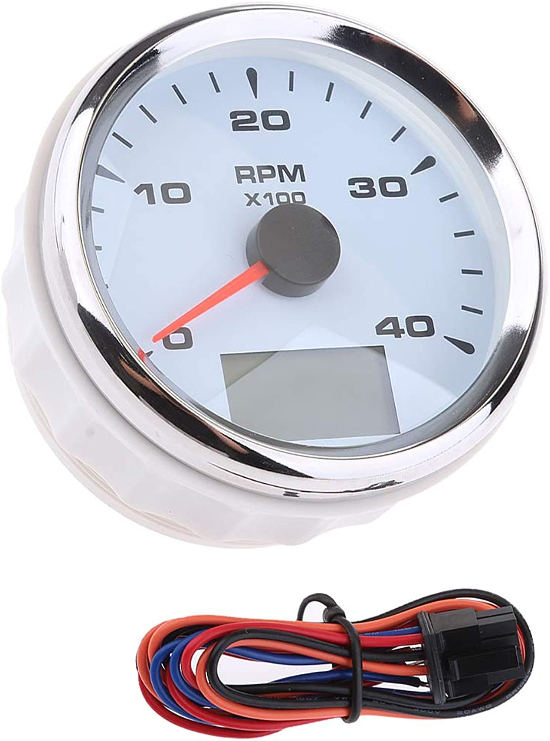 MagiDeal 85mm 04000 RPM Electrical Tachometer Gauge LED Indication Odometer Waterproof