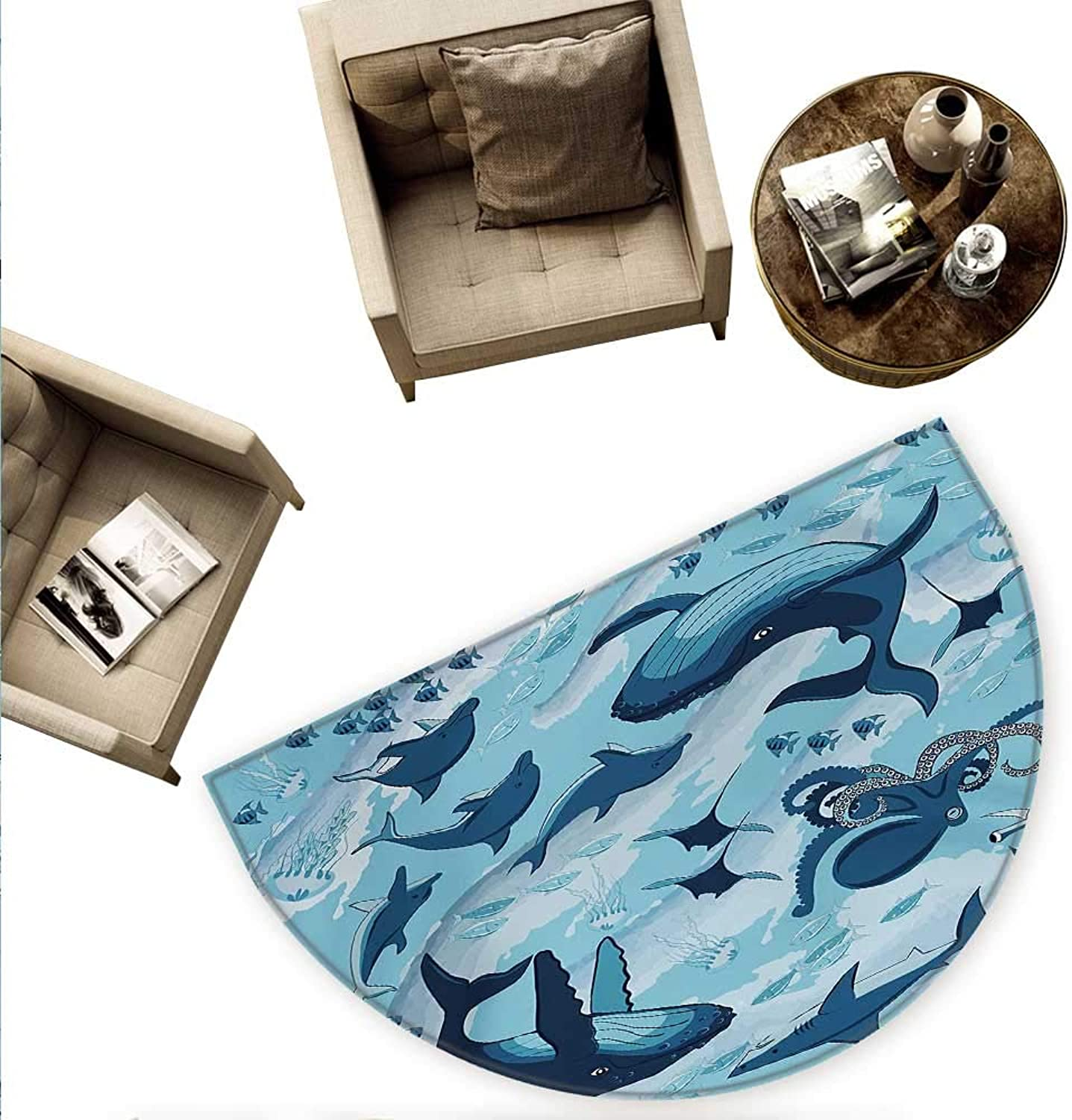 Shark Semicircular Cushion Inhabitants of Ocean Sharks Whales Dolphins Octopus Jellyfish Starfish with Waves Image Entry Door Mat H 70.8  xD 106.3  bluee