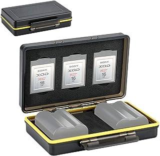 XQD Card Holder & Camera Battery Case for 3 XQD Cards + 2 Camera Batteries =59x39x20mm fits Nikon EN-EL15 EN-EL15a EN-EL15b on Z6 Z7 D850 D7500 D810A D810 D800 D800E D750 D610 D500 D7200 D7100 D7000