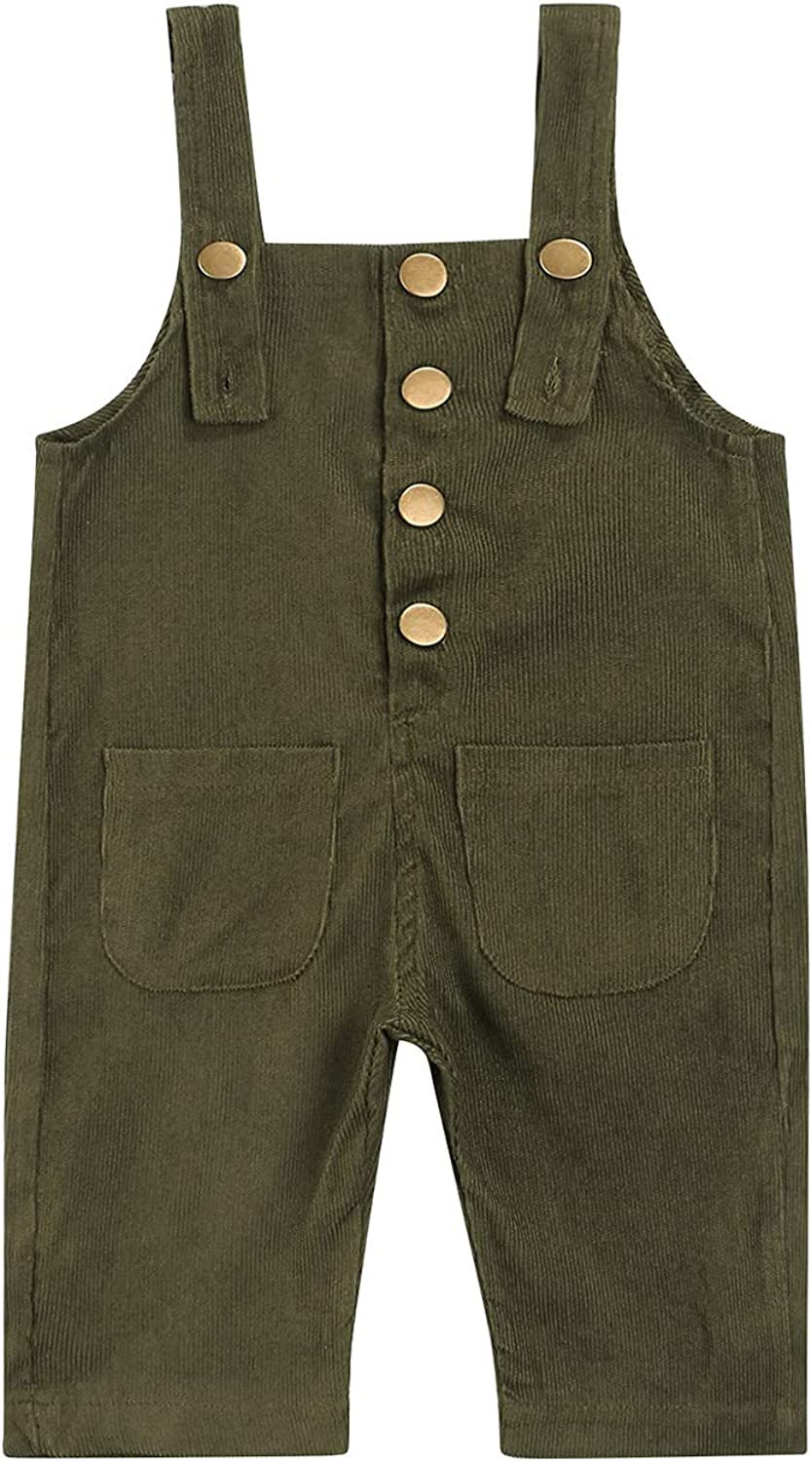 Infant Boy Girl Corduroy Bib Overalls Kids Autumn Solid Color Casual Suspender Pants with Pockets: Clothing, Shoes & Jewelry