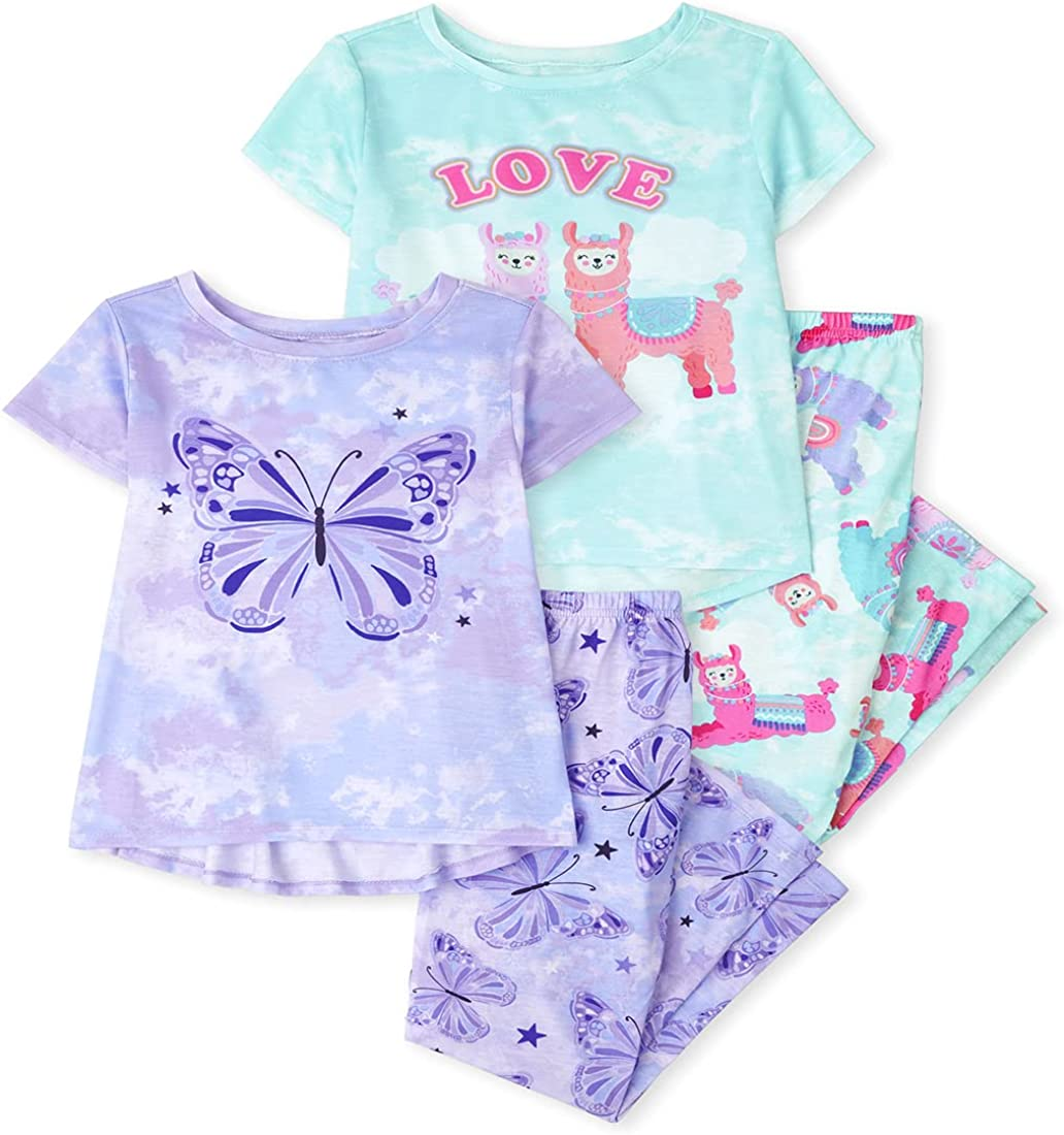 The Children's Place Girls' Llama Butterfly 4-Piece Pajamas