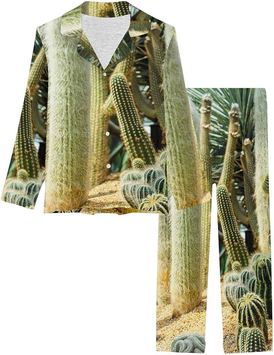 InterestPrint Notch Collar Loungewear Sleepwear Soft Nightwear for Women Cactus in Botanical Garden