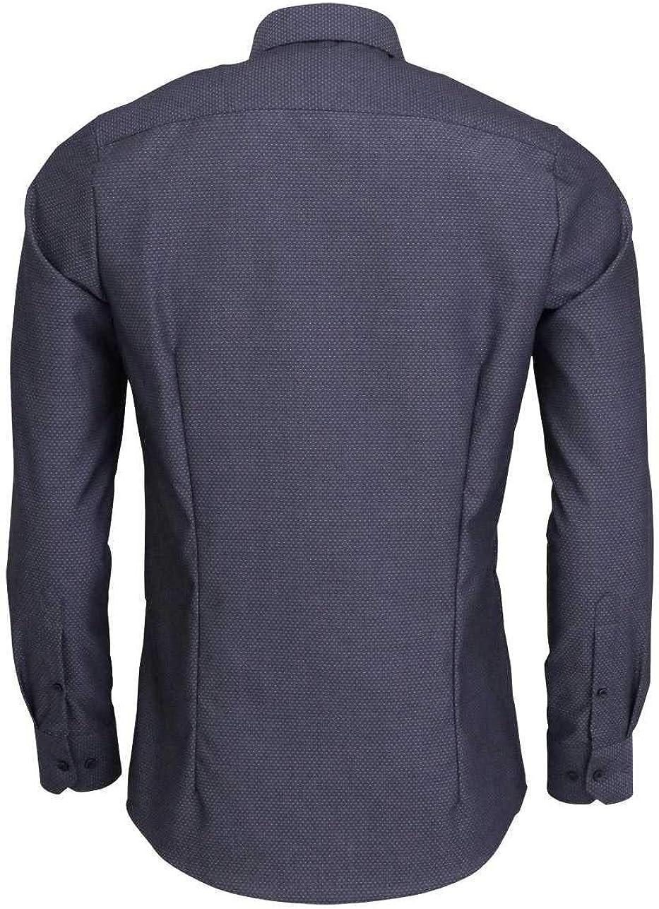 Marvelis Camisa Body Fit de manga larga New Kent con cuello en negro