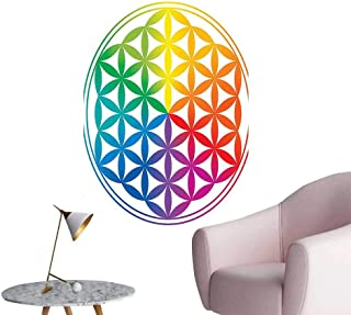Vinyl Wall Stickers Archaic Pattern with Gradient Rainbow Integral Sacred Mystery Concept Perfectly Decorated,12