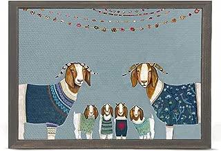 GreenBox Art + Culture Goats in Sweaters on Blue by Eli Halpin 5 x 7 Mini Framed Canvas