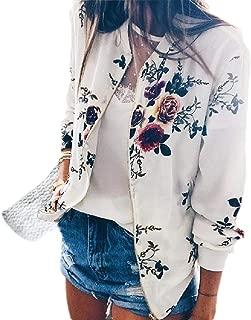 MogogoWomen Floral Print Casual Leisure Baseball Zipper Long Sleeve Jacket