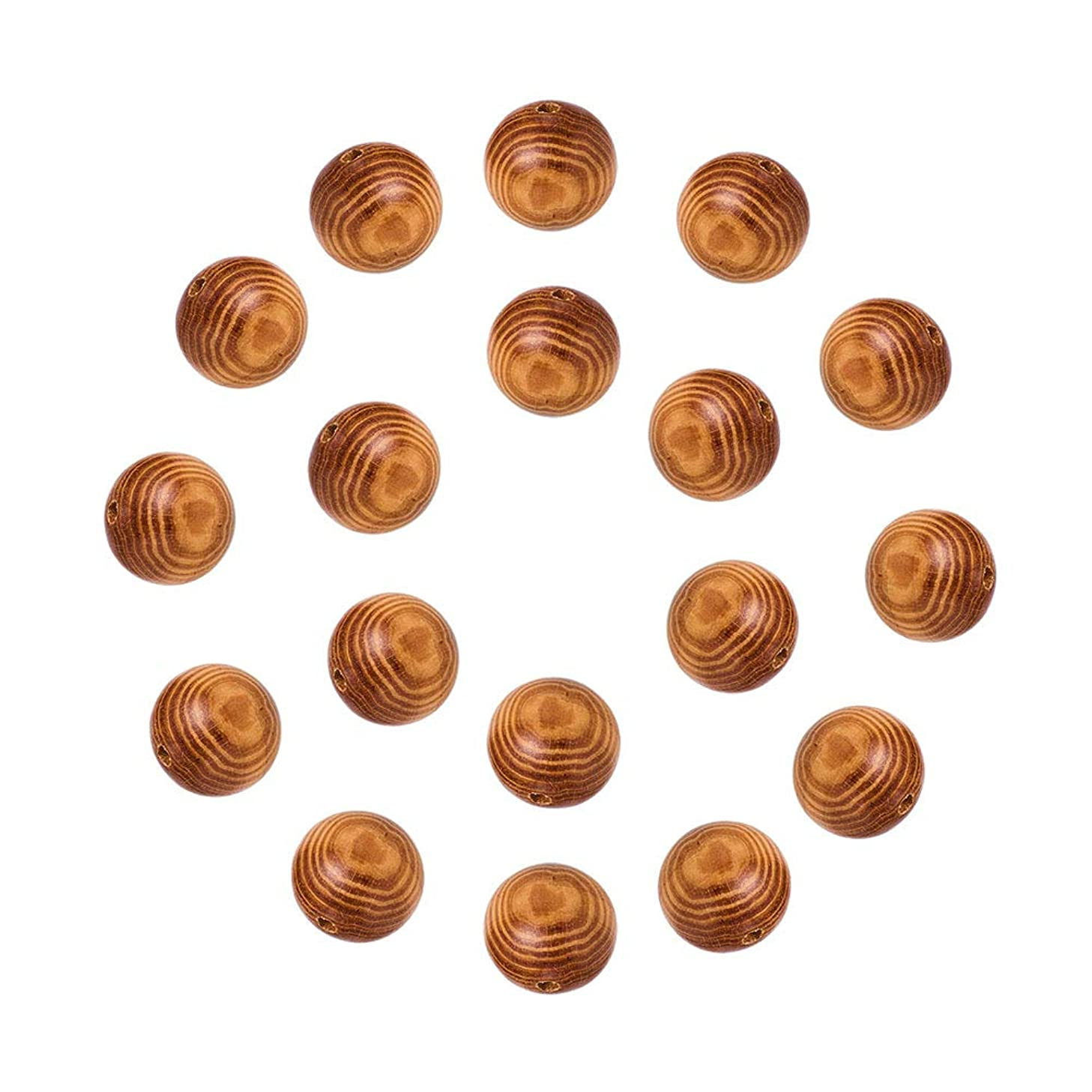NBEADS 100 Pcs 30mm Burly Wood Round Wood Beads, Natural Wooden Spacer Beads Loose Beads for DIY Jewelry Making