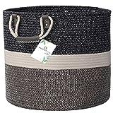 DS HappyLiving Blanket Holder Living Room XXL 18x18 Basket for Blankets Living Room 100% Cotton Pillow Basket Blanket Basket Living Room Big Blanket Basket Throw Blanket Basket Wicker Floor Basket