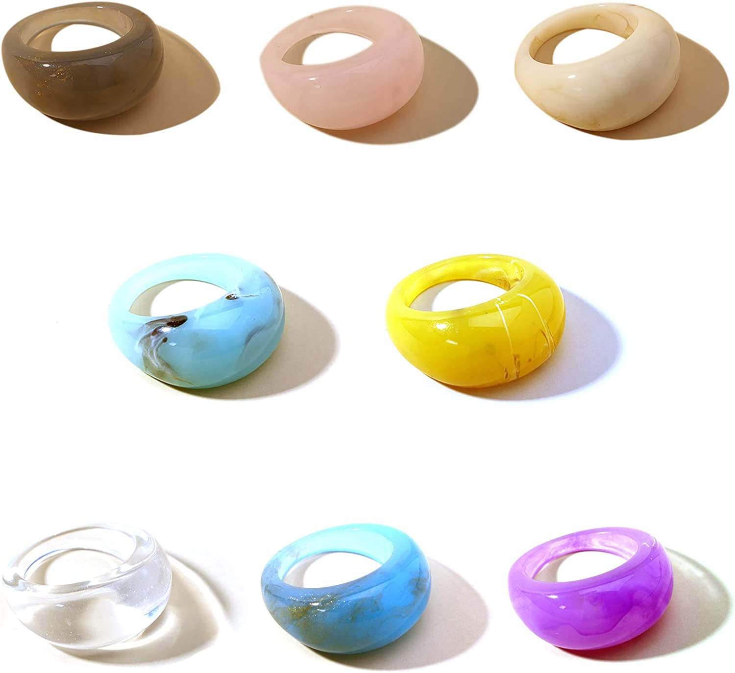 8pcs BohemianColorful Resin Wide Chunky Thick Dome Knuckle Finger Stackable Joint Ring for Women Girl Vintage Transparent Acrylic Statement Rings Party Jewelry Elegant Handmade Gift