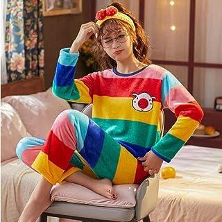 Kllomm Pijamas de Mujer Otoño Invierno Cálidos Pijamas de Mujer Conjuntos dePijamas de Dibujos Animados de Manga Larga deFelpa de Coral GruesoConjunto Chica-Medio