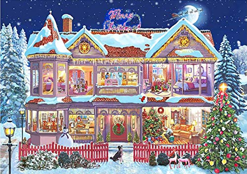 5D Diamond Painting Kits for Adults, Christmas House DIY Embroidery Pictures Full Drill Crystal Rhinestone Arts Craft for Home Wall Decor Gift, 15.8 x 11.8 inch