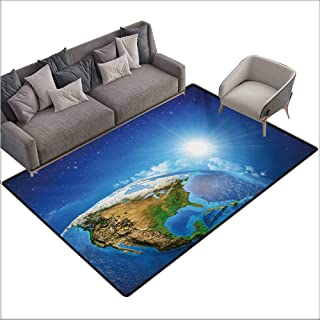 Inner Door Rug Earth United States View in Space Rising Sun Over The Earth and Its Landforms Durable W78 xL106 Blue Green Pale Brown