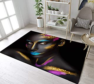 LB Modern African Area Rug Hip Hop Style Make-up Sexy Woman Black and Gold Rug Carpet for Living Dining Room,Non Slip Soft Memory Foam Floor Mats Decor 1'8''X2'7''