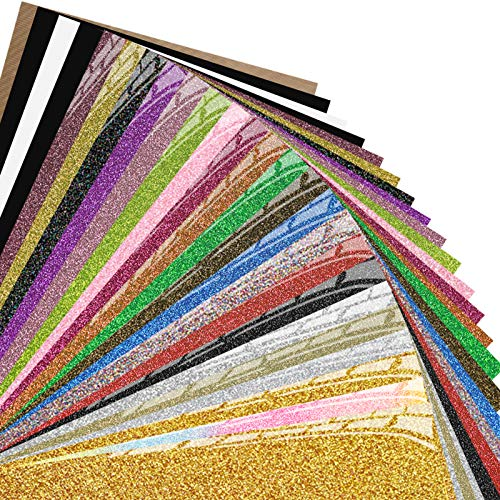 Heat Transfer Vinyl Sheets - 25 Pack Assorted Colors HTV Vinyl, Iron On Vinyl for Cricut, Bonus Two Regular Black, One White and Teflon Sheet for Heat Press Machine and T Shirts by TransWonder