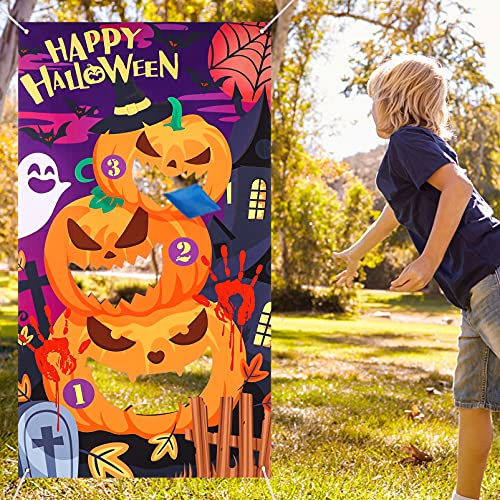 CLISPEED Halloween Party Toss Games, Pumpkin Ghost Banner with 3 Bean Bags for Kids Adults Indoor Outdoor Use Halloween Decoration Party Favour Supplies