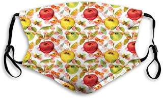 Watercolor Arrangement of Fruits with Leaves and Butterflies on Dotted Background Reusable Face Mask Balaclava Outdoor Nos...