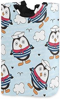 Little Sailor Penguin Panier à linge Panier à linge pliable Sac à linge sale pliable Grand panier de rangement avec poigné...