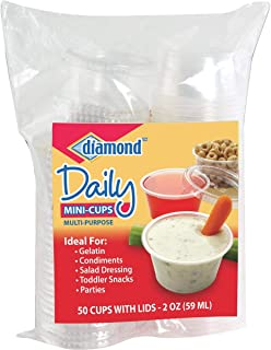 Diamond 2 Ounce Mini Plastic Cup With Lids (Pack of 8)