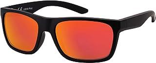 La Optica B.L.M. - La Optica Gafas de Sol LO8 UV400 Deportivas da Hombre y Mujer, Mate Negro (Lentes: rojo espejada)