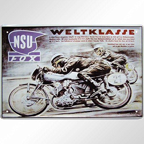 Unbekannt Tin Sign Blechschild 20x30 cm NSU Fox Kult Motorrad Rennen Moped Plakat Metall historisch Schild