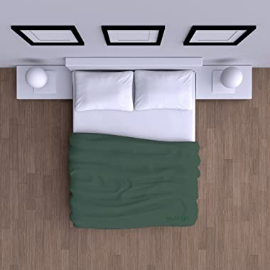 Mezzati Luxury Flat Top Sheet - Soft and Comfortable 1800 Prestige Collection - Brushed Microfiber Bedding (Emerald Green, Fu
