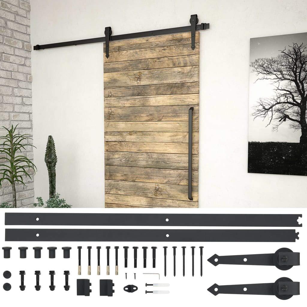 Tidyard Kit de herrajes para Puerta corredera Kit de Accesorios para Puertas Correderas 183 cm Acero Negro: Amazon.es: Hogar