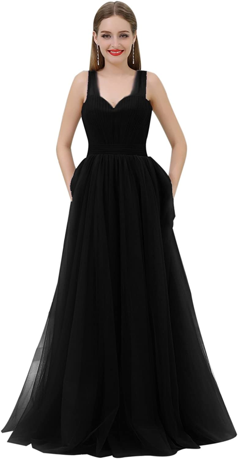 CuteShe Women's Long Tulle Straps Bridesmaid Dresses Formal Evening Gown