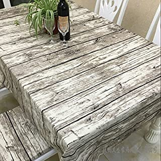 JInsen Vintage Wood Grain Tablecloth,Linen Embroidered Rectangle Washable Dinner Picnic Table Cloth,Assorted Size 140x240 cm (55x95 inch)