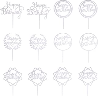 Bestomrogh Cake Topper,12 Pcs Happy Birthday Cake Topper Acrylic Cake Toppers for Cake Decoration Party Supplies