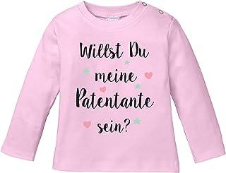 EZYshirt Willst du Meine Patentante Sein   Strampler Patenschaft   Patenkind T-Shirt Langarm Baby Bio Baumwolle