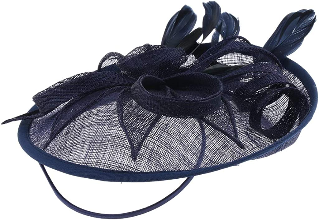 LoveinDIY Sinamay Fascinator Top Hat Wedding Cocktail Tea Party Feather Headwear