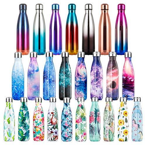 Lalafancy Edelstahl Trinkflasche Vakuum Wasserflasche, Isolierflasche Auslaufsichere für Sport, Laufen, Fahrrad, Yoga, Wandern und Camping - 24 Std. Kalt und 12 Std. Heiß - 350/500/750ml