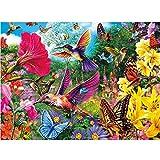 MXJSUA Bricolage 5D Diamant Peinture Kits de Forage Ronds Complets Strass Image Artisanat pour la Décoration Murale À La Maison 30x40 cm Colibri Oiseau Fleurs Papillon
