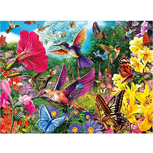 MXJSUA DIY 5D Diamond Painting Full Round Drill Kits Rhinestone Picture Art Craft for Home Wall Decor 12X16In Hummingbird Bird Flowers Butterfly
