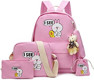 A four-piece school backpack set for girls with a stylish modern design
