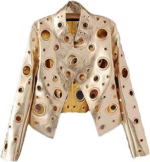 eb0f0889f427 Cool Golden Leather Jacket Women Metal Circle Moto Coat Punk Rock Faux  Jaquetas Couro Casaco Chaquetas
