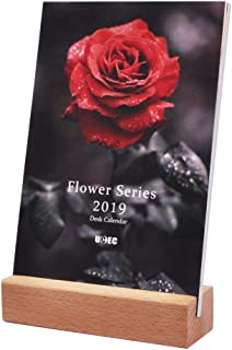 UCEC 2019 Desk Calendar, 4 x 6 Inch Small Mini Desktop Calendar, Flower Photo Monthly Calendar with Easel Stand, Gift for Her, Colorful Home Office Decor