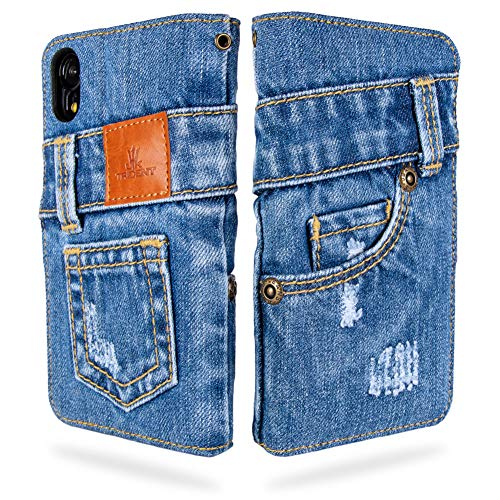 UKTrident本格デニムiPhoneXR手帳型アイフォンケース(アイフォンXRケース)