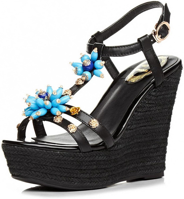 BalaMasa Womens Sandals Peep-Toe No-Closure Waterproof Cushioning Urethane Sandals ASL04515