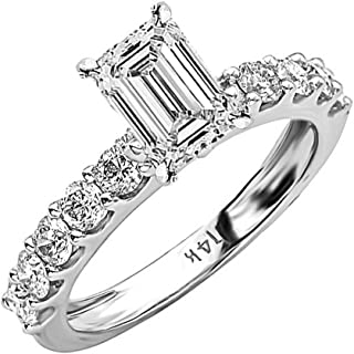 4 Ctw 14K White Gold Classic Side Stone Prong Set Emerald Cut GIA Certified Diamond Engagement Ring (3 Ct J Color VS2 Clarity Center Stone)