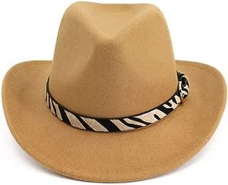 JAUROUXIYUJI Men & Women Handmade Wool Felt Panama Hats Cowboy Western Caps Wide Brim Sombrero Fedora Trilby Casual Jazz Formal Hat (Color : Coffee, Size : 56-58)