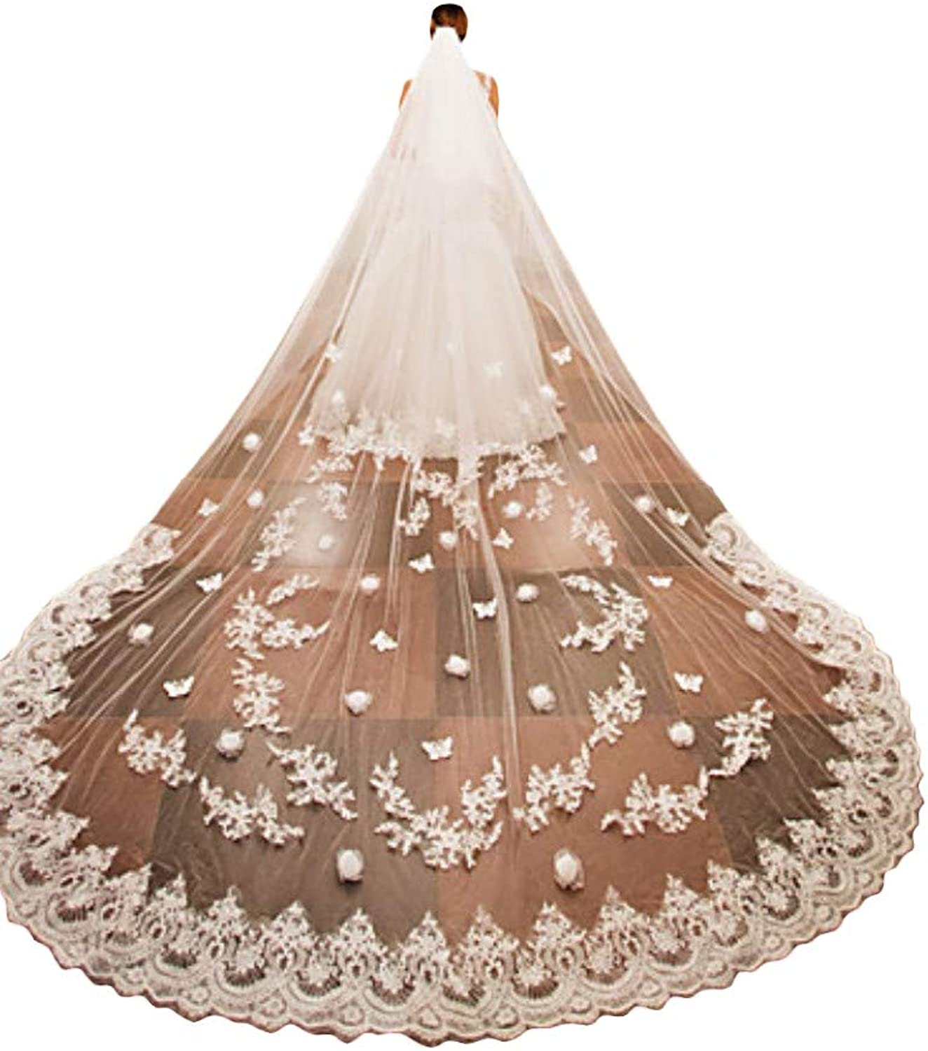 Fenghauvip 3D Flower Cathedral Veils 1 Tier Wedding Veil for Brides with Comb