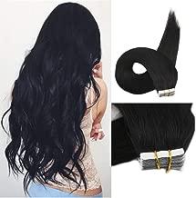 Full Shine Tape In Hair Extensions 12 Inch Short Human Hair Tape Hair Extensions Color #1 Jet Black Silky Straight Tape On Remi Hair Extensions Short Hair For Women Seamless Pu Hair 20Pcs 30G