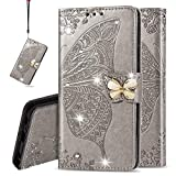 IMEIKONST Wallet Case for LG K40S, Bling Diamond Butterfly