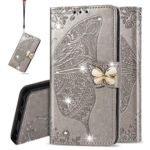 IMEIKONST Wallet Case for LG Q60, Bling Diamond Butterfly Embossed PU Leather With Card Slots Holder Magnetic Closure Flip Stand Cover for LG K50 Cystal Butterfly Grey SD