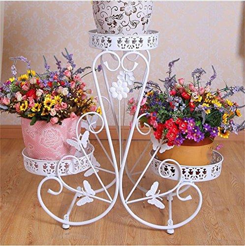 La mode blanche anti-corrosive fleur fer Stand supports/Stand 3 étages étage Creative Flower pots décoratifs présentoir salon balcon intérieur et extérieur