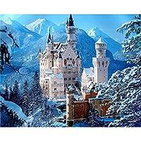 新しい5Dフルダイヤモンド絵画クロスステッチ雪山と城ダイヤモンド刺繍ダイヤモンドモザイク家の装飾ギフト